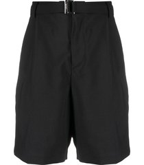 sacai belted straight-leg tailored shorts - black