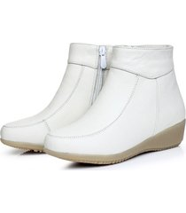 stivali casual in morbida pelliccia bianca con fodera in pelliccia