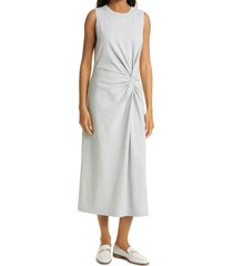 club monaco twist front tank maxi dress, size x-large in light heather grey at nordstrom