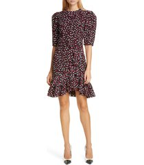 women's michael kors collection tiered belted scattered dot dress, size 8 - red