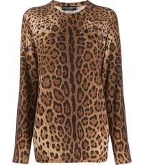 dolce & gabbana cashmere animal print sweater - brown