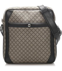 gucci diamante coated canvas crossbody bag brown, black sz: s
