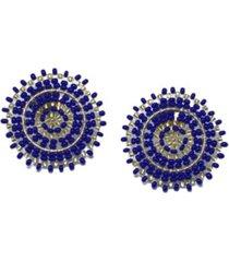 aretes tejidos a mano en mostacillas color azul