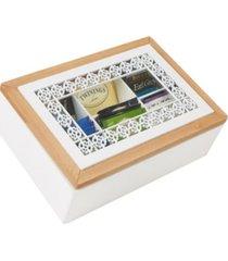 mind reader tea box storage holder with glass window wood pattern