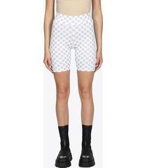 misbhv shorts in lycra stretch bianco con logo reflective
