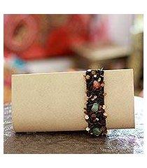 beaded clutch handbag, 'natural glam' (india)
