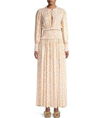 weworewhat women's addision printed blouson maxi dress - cream - size m