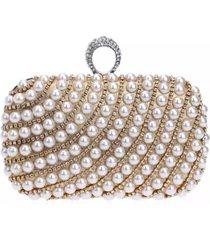 bolsa clutch liage bordada pedra pã©rola cristal pedraria strass brilho metal prata e dourada - dourado - feminino - dafiti