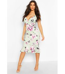 floral print wrap front fishtail midi dress