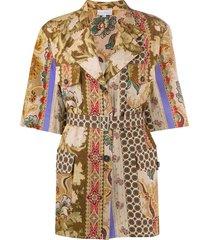 pierre-louis mascia floral print belted jacket - neutrals