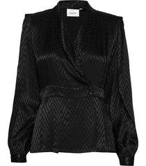 lynngz blouse ms20 blouse lange mouwen zwart gestuz
