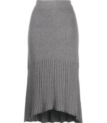 calvin klein ribbed tulip skirt - grey