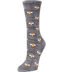 memoi honeycomb and bee women's crew socks