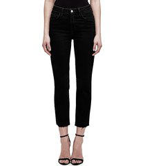 l'agence women's audrina cropped straight-leg jeans - black - size 30 (8-10)