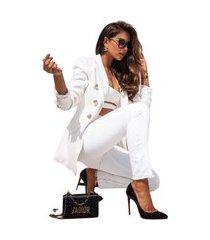 blazer feminino alfataria acinturado manga longa elegante moderno chique top venda branco