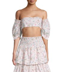 weworewhat women's coco off-the-shoulder crop top - evening sand - size l
