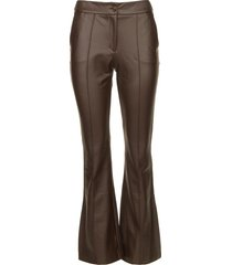 faux leather flared broek erica  bruin