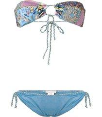 anjuna embroidered bikini set - blue
