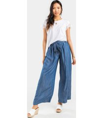 lucy front knot palazzo jeans - chambray
