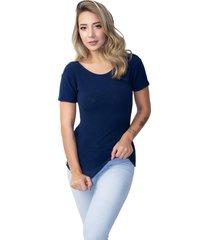 blusa canelada rb moda manga curta azul marinho