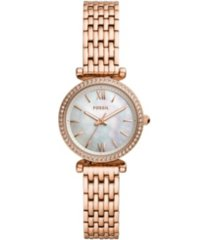 fossil carlie mini three-hand rose gold-tone stainless steel watch 28mm