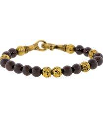 red garnet and brass bead bracelet