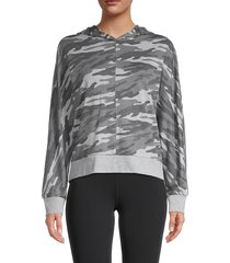marc new york performance women's camo-print hooded jacket - charcoal combo - size s