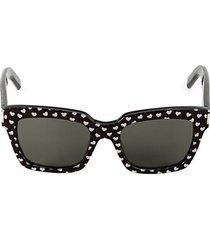 lasercut heart 54mm square sunglasses