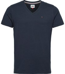 tjm original jersey v neck tee t-shirts short-sleeved blå tommy jeans