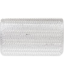 la regale horizontal chevron crystal flap clutch