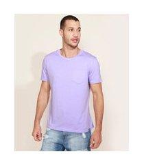 camiseta masculina com bolso manga curta gola careca lilás