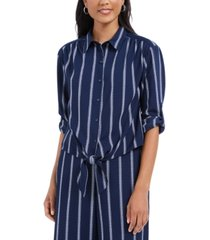 charter club striped tie-front shirt, created for macy's