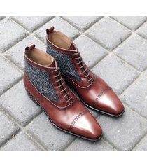 handmade brown leather ankle boots,tweed casual cap toe boot new formal boot men