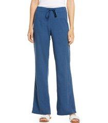 women's caslon linen blend pants, size x-small - blue
