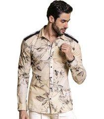 camisa manga longa pargan floral masculina