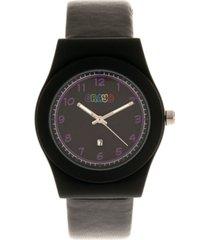 crayo unisex dazzle black genuine leather strap watch 37mm