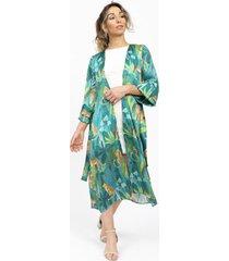 kimono tropical cheetah clásico casual verde kimonada