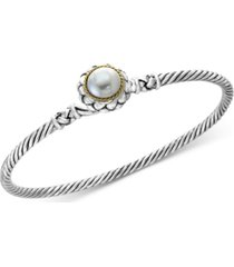balissima by effy cultured freshwater pearl (9mm) bangle bracelet in sterling silver & 18k gold
