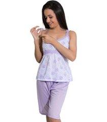 pijama linha noite de malha pescador feminino