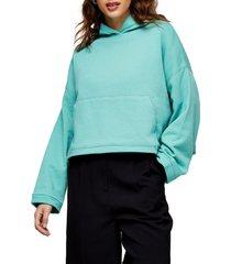women's topshop boxy crop hoodie, size medium - blue/green