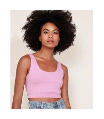 top cropped feminino mindset alças médias decote redondo rosê