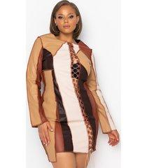 akira no bad days faux leather patchwork midi dress