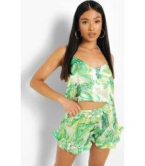 petite losse tropische pyjama set met shorts, green