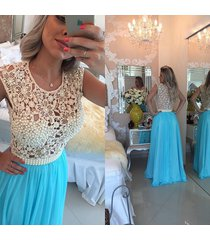 newest ice blue lace beaded see through charming long prom dresses