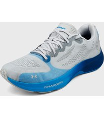 tenis running gris-azul under armour armour charged pulso   género: masculino