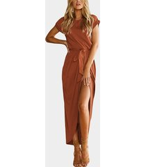 coffee plain short sleeves slit hem maxi dress