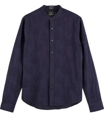 scotch & soda regular fit structured cotton-linnen shirt