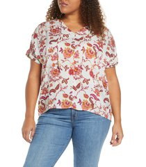 plus size women's caslon print split neck blouse, size 2x - blue