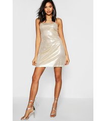 tall sequin square neck mini bodycon dress, gold