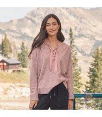 sundance catalog women's sunset walk sweater in rose marl medium